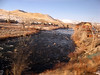 Train trip back to California, morning west of Reno--the Truckee River