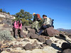 Scrambling up the rock field