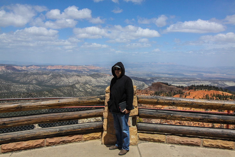 "Day 3. Bryce. The final overlook at 9000 feet. Man it is cold and windy. ""hurry up with the picture!"" 60 million years ago, it would have been all water."