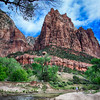 Day 1. Zion.  An amazing place with towering cliffs on every side. The only option really to see the park is to take a shuttle which comes every 7 minutes. It allows you to get a good overview as you are able to get on and off as many times as you want. Here is the first stop. HDR. Joe on the bottom right.