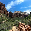Day 1. Zion. Up the trail to the upper pools. There are little rock towers made by hikers on the way back down. you are supposed to add a rock as you pass down which we did.