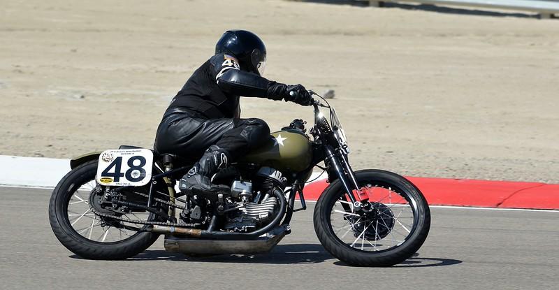 Harley 45 flathead and rider of same vintage