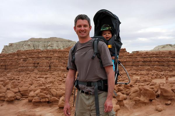 Dad and Alex hiking around Goblin Valley State Park