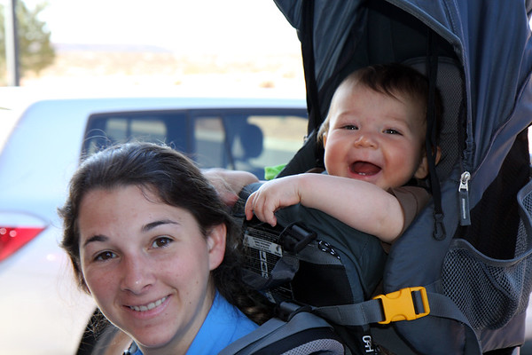 Did I mention that Alex really likes getting carted around in the baby backpack? Added bonus is pulling on Mom or Dad's hair.