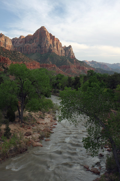 The Watchman and Virgin River within Zion National Park at Sunset. This is the classic photo that draws so many people to Zion. It drew me in and the park did not disappoint. It's a hiker's paradise, and has scenery that is out of this world. We're already planning our next trip in the Fall so that we can take advantage of some of the hikes that weren't open during this trip (ie Narrows was closed due to high river waters...apparently must be 140cfs or less for the Narrows to be open).