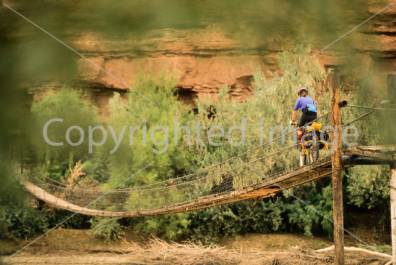 Mountain biker on bridge over San Juan River - on way to 16 House Ruin  - B ut sjrb 2