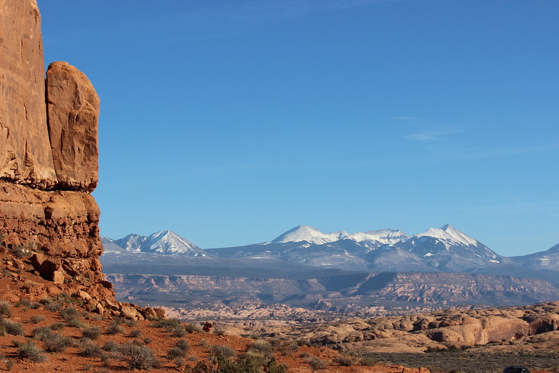 View of La Sal Mountains and Petrified Sand Dunes