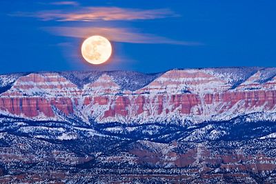 Blue Moonrise over the Aquarius Plateau Bryce Point, New Years Eve - 12/31/2009
