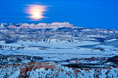 Blue Moonrise across the Paria Valley Bryce Point, New Years Eve - 12/31/2009