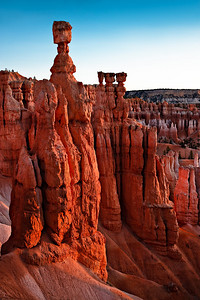 Sunrise glow on Thor's Hammer, Navajo Trail