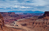 Shafer Canyon views with the La Sal mountains in Canyonlands National Park, Utah, USA, America.