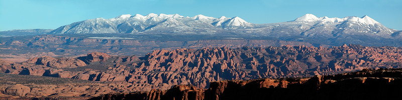 Behind the Rocks fins with the snow covered La Sal Mtns, from Long Canyon  -  Canyonlands