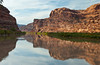 Views of the Colorado river with reflections.  of canyon walls in the calm water, Utah, USA, America.
