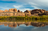 Views of the Colorado river with reflections of canyon walls in the calm water, Utah, USA, America.
