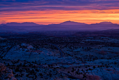 Sunrise view east to the Henry Mtns. across the Grand Staircase of the Escalante from Hwy 12 overlook