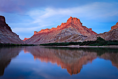 Spanish Bottom - after sunset glow - a beautiful ending to a 7 day canoe trip Colorado River, Utah