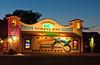 The Smokehouse Bar sign illuminated at dusk in Moab, Utah, USA, America.