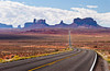 Monument Valley buttes and spires from Hwy 163 in Utah, USA, America.