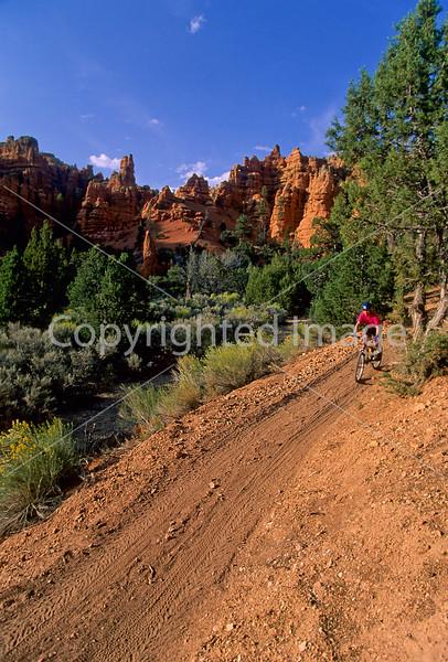 Mountain biker in Casto Canyon near Bryce Canyon Nat'l Park, Utah - 2 - 72 ppi
