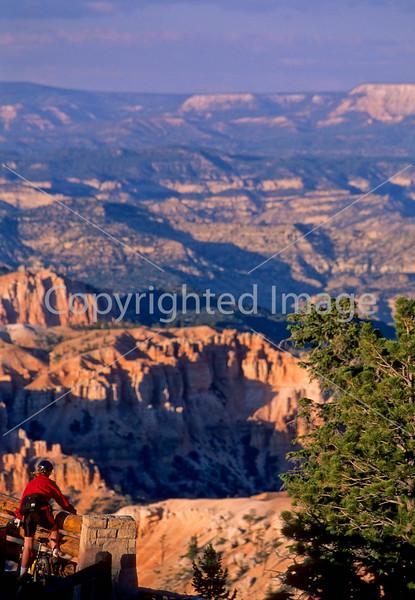 Cyclist at overlook along road through Bryce Canyon Nat'l Park - 1 - 72 ppi