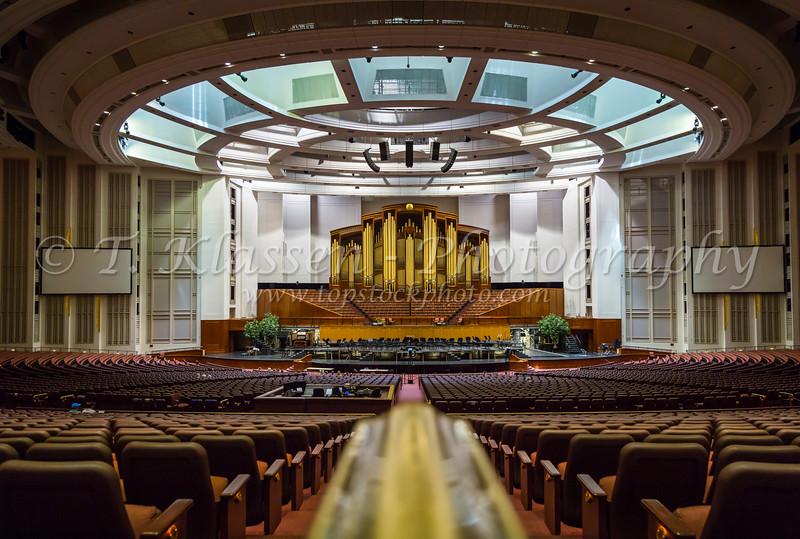 The Mormon Conference Center interior auditorium in Salt Lake City, Utah, USA.