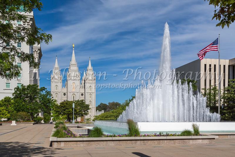 The Mormon Temple complex of buildings in Salt Lake City, Utah, USA.