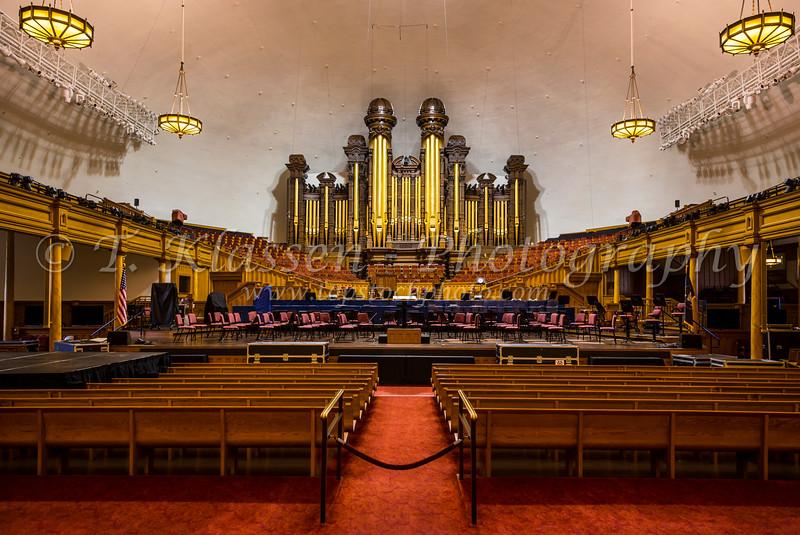 The Mormon Tabernacle interior in Salt Lake city, Utah, USA.