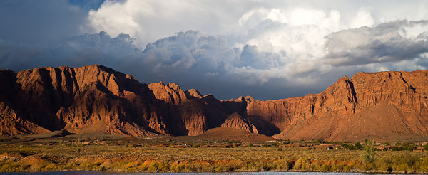 Stormy Sunset over Red Rock Wilderness Navajo Sandstone, Jurassic