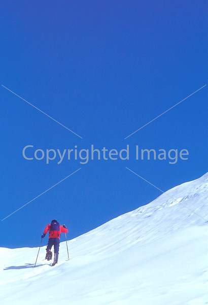 SN ut wstc 22 - ORps - Backpacker on snowshoes in Utah's Wasatch Mountains near Salt Lake City, Utah - 72 ppi