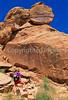 Hiker at petroglyph panel in Dinosaur Nat  Monument, Utah - 8 - 72 ppi