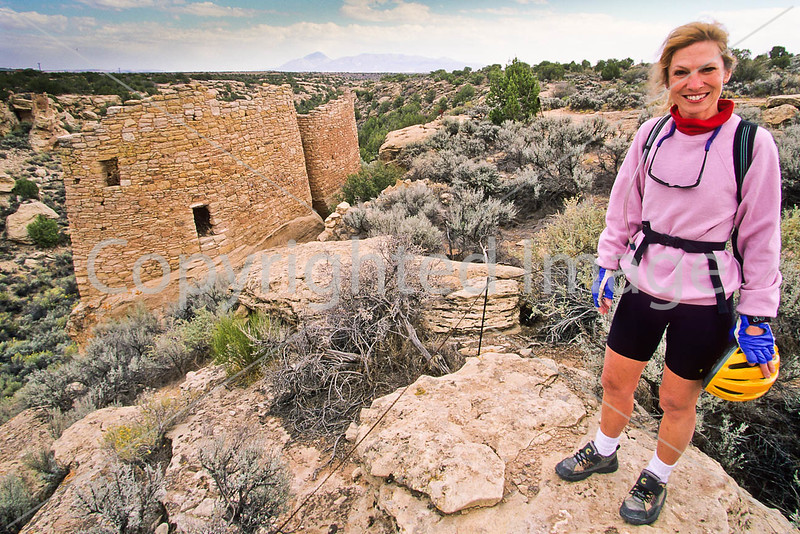 Biker at Hovenweep National Monument on Utah-Colorado border - 21 - 72 ppi