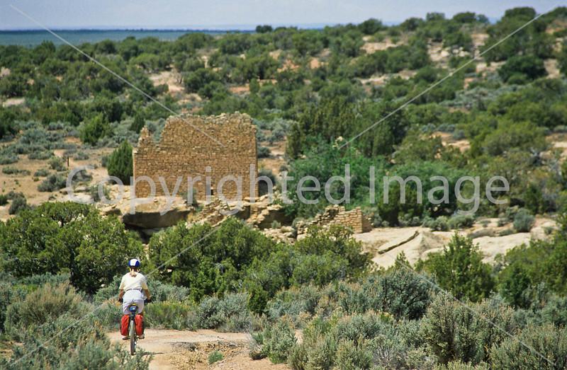 Biker at Hovenweep National Monument on Utah-Colorado border - 27 - 72 ppi