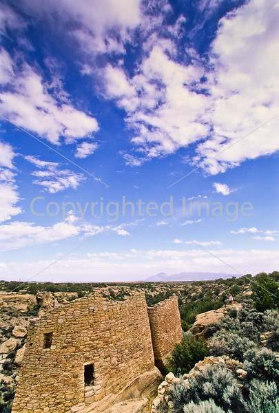 Biker at Hovenweep National Monument on Utah-Colorado border - 15 - 72 ppi