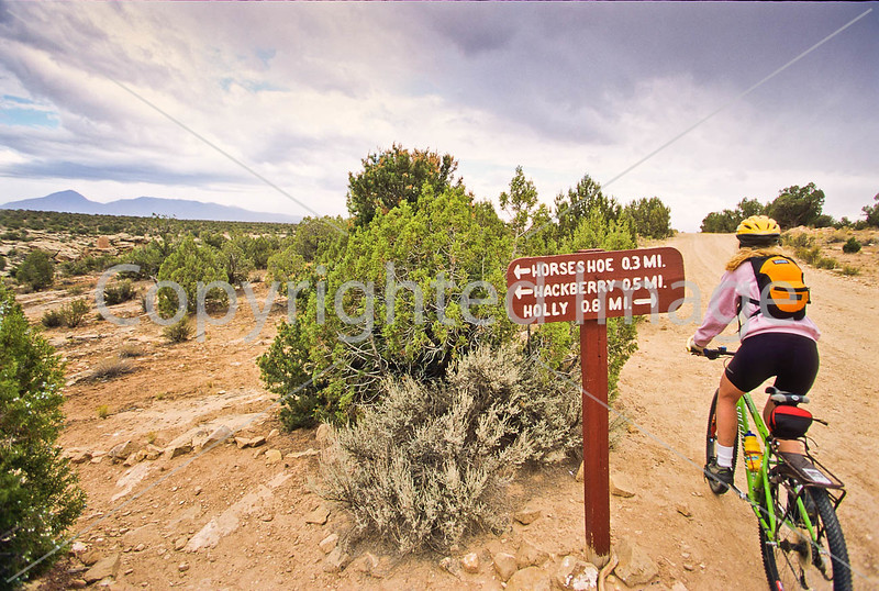 Biker at Hovenweep National Monument on Utah-Colorado border - 17 - 72 ppi