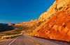 Sunlit canyon walls on Hwy. 95 in rural Utah, USA, America.