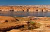 Lake Powell canyon wall reflections and recreation areas, Utah, USA, America.