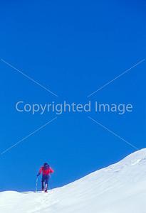 SN ut wstc 20 - ORps - Backpacker on snowshoes in Utah's Wasatch Mountains near Salt Lake City, Utah - 72 ppi