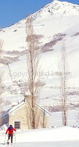 SN ut wstc 45 - ORps - Snowshoer in Utah's Wasatch Mountains near Salt Lake City - 72 ppi