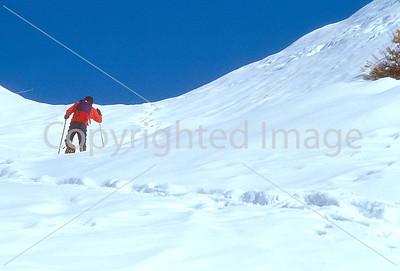 SN ut wstc 25 - ORps - Backpacker on snowshoes in Utah's Wasatch Mountains near Salt Lake City, Utah - 72 ppi