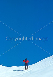 SN ut wstc 26 - ORps - Backpacker on snowshoes in Utah's Wasatch Mountains near Salt Lake City, Utah - 72 ppi