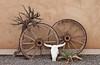 Wagon wheels and desert decor in Bluff, Utah, USA, America.
