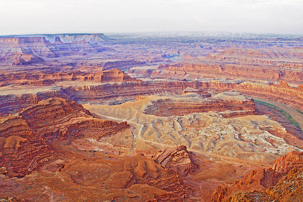 Canyonlands National Park from Dead Horse Point.   It is around 2,000 feet to the canyon bottom.  The canyon was formed by the Colorado river.