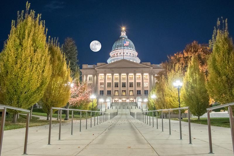 Full Moon over Utah Capitol