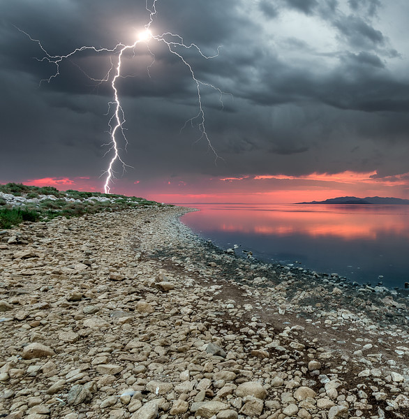 Antelope Island Lightning Strike at Sunset