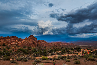 Arches Storm with Clouds and lights Moab Utah