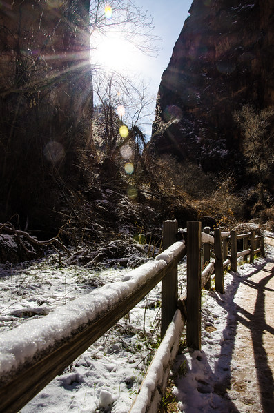 Zion Winter Fence Coating in the Narrows