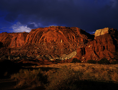 Capitol Reef National Monument, approaching thunder and lightning storm.  Fuji Velvia 50