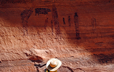Pictographs and Cowboy Hat, Maze District, Canyonlands National Park, Utah