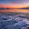 Ice Sheets at Sunset over Utah Lake