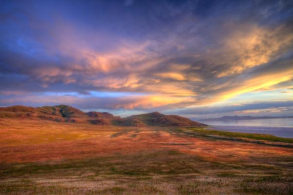 Sunset over Antelope Island State Park in Utah